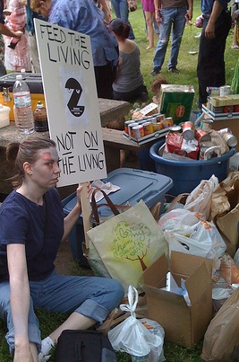 A ZADL Activist with the collected food.